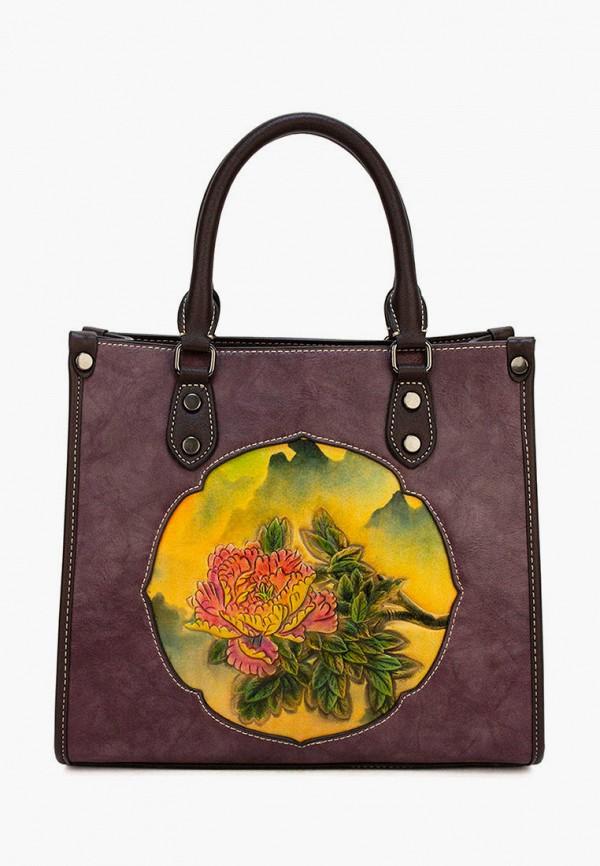 женская сумка с ручками laccoma, бордовая