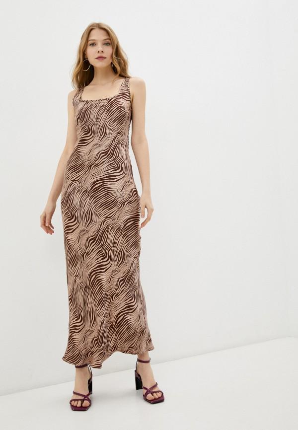 женское платье-комбинация love republic, коричневое