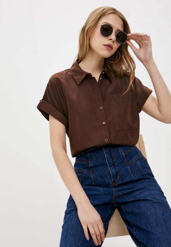 женская блузка с коротким рукавом love republic, коричневая