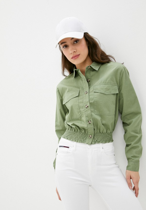 женская рубашка с длинным рукавом o'stin, зеленая