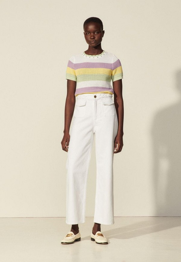 женские прямые джинсы sandro, белые