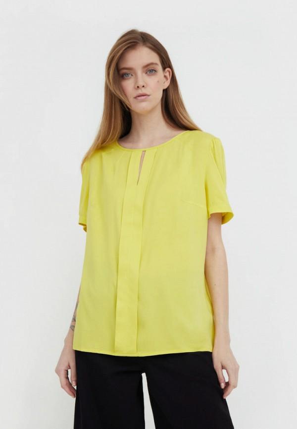 женская блузка с коротким рукавом finn flare, желтая