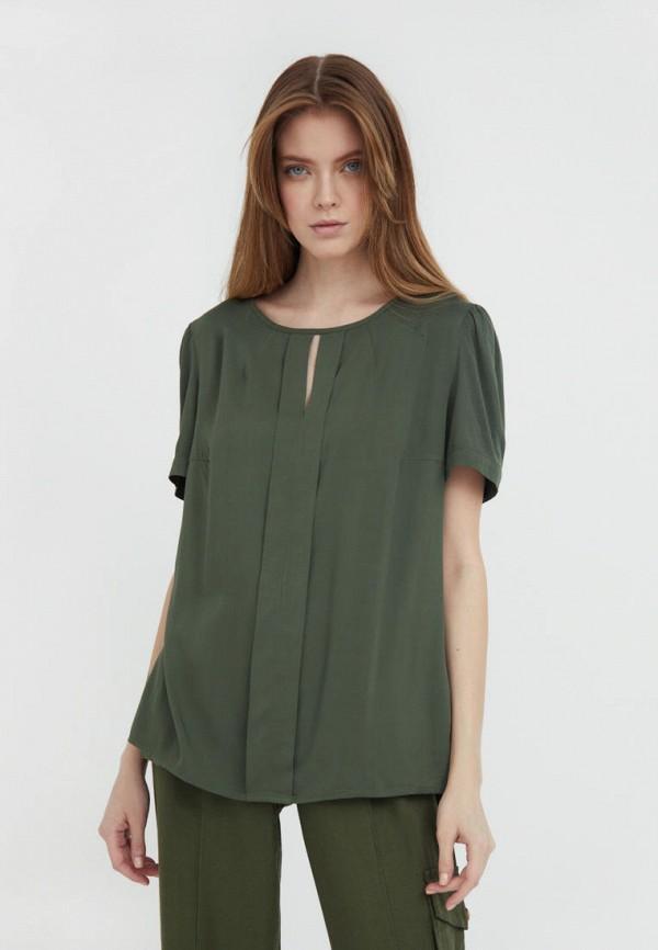 женская блузка с коротким рукавом finn flare, хаки