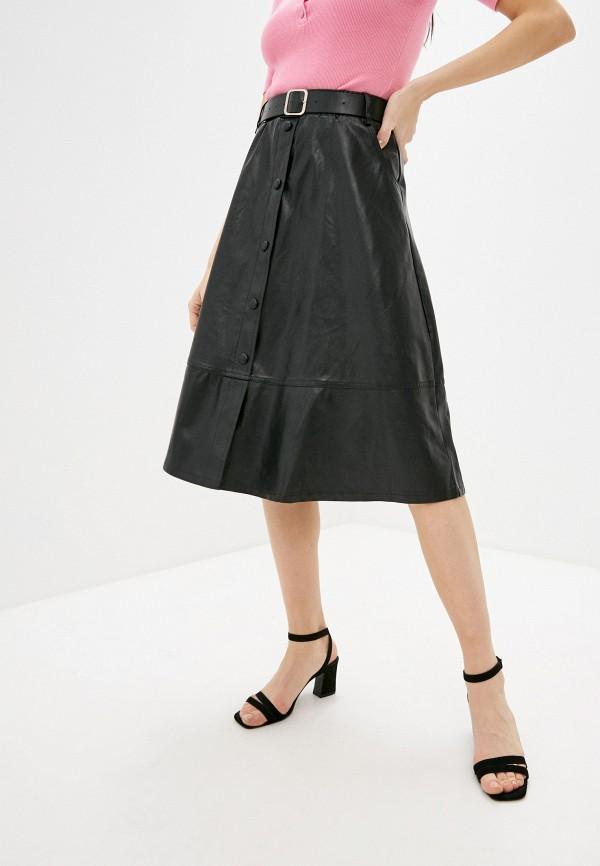 женская кожаные юбка fadjo, черная