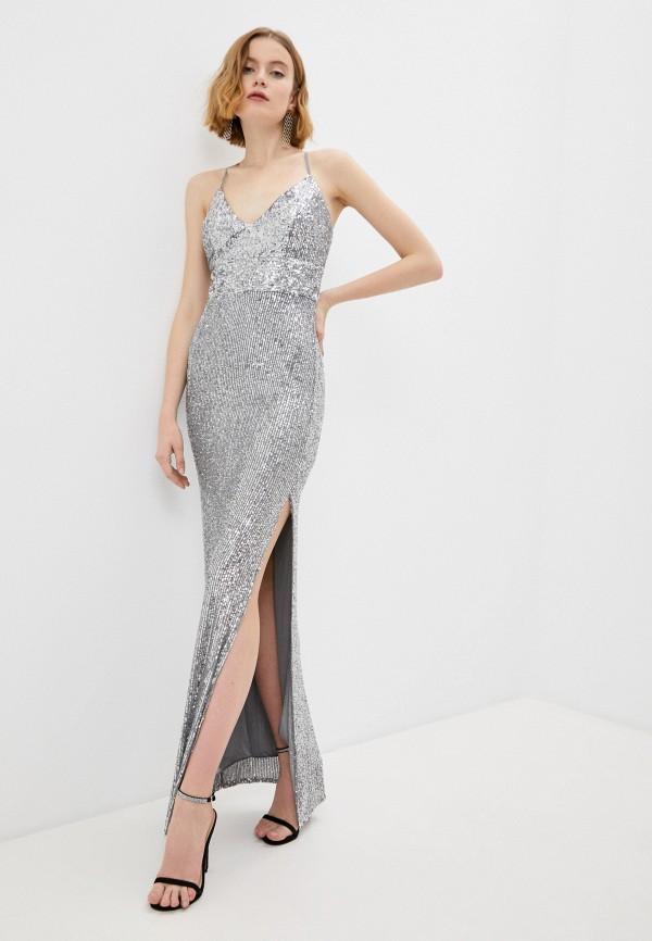женское вечерние платье joymiss, серебряное