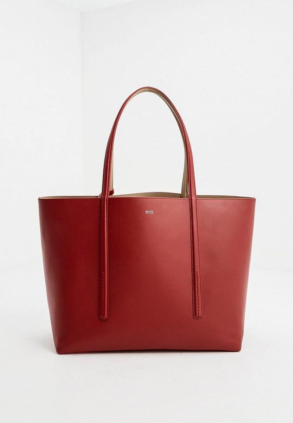 женская сумка-шоперы boss, бордовая