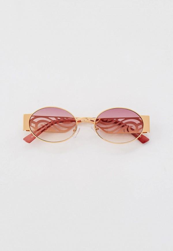 женские круглые солнцезащитные очки furlux, золотые