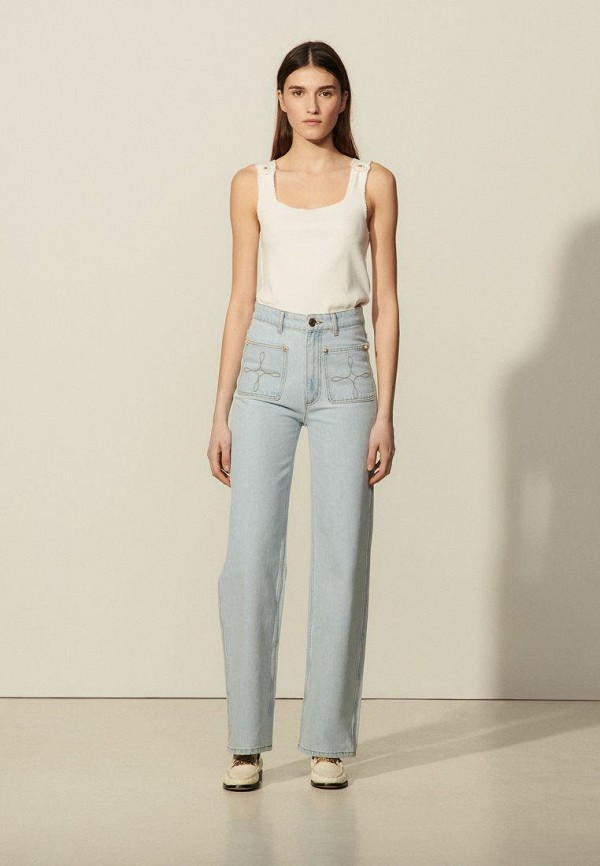 женские прямые джинсы sandro, голубые