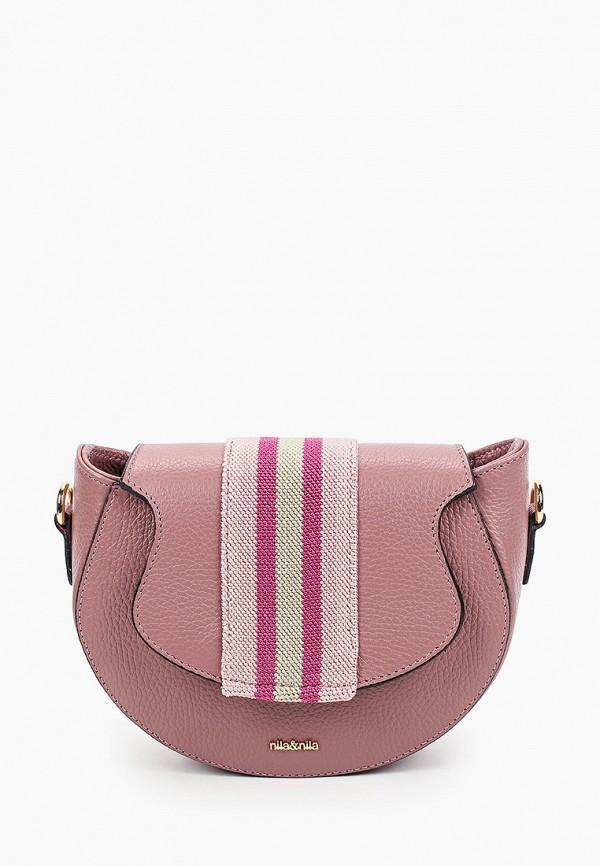 женская сумка через плечо nila&nila, розовая