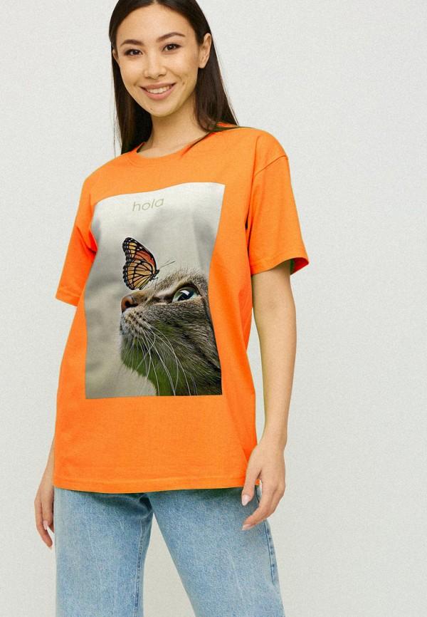 женская футболка yappi, оранжевая