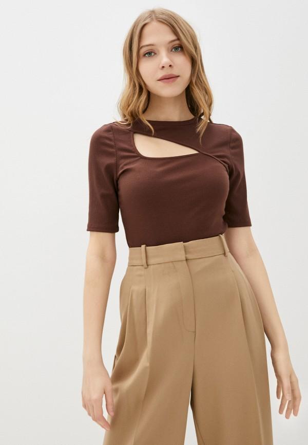 женская футболка love republic, коричневая