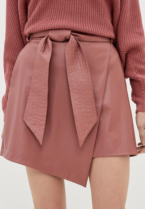 женская кожаные юбка francesco donni, розовая