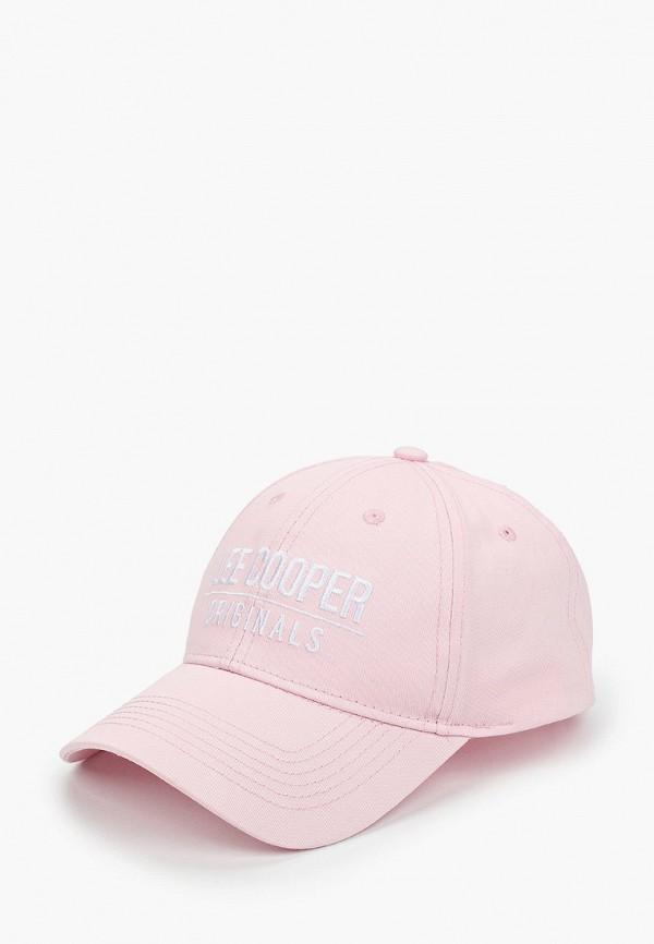 женская бейсболка lee cooper, розовая