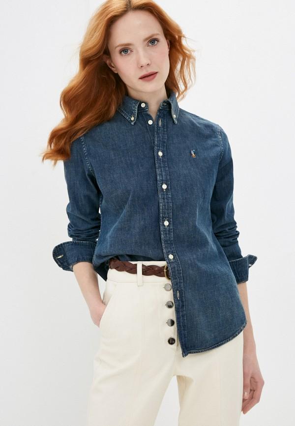 женская джинсовые рубашка polo ralph lauren, синяя