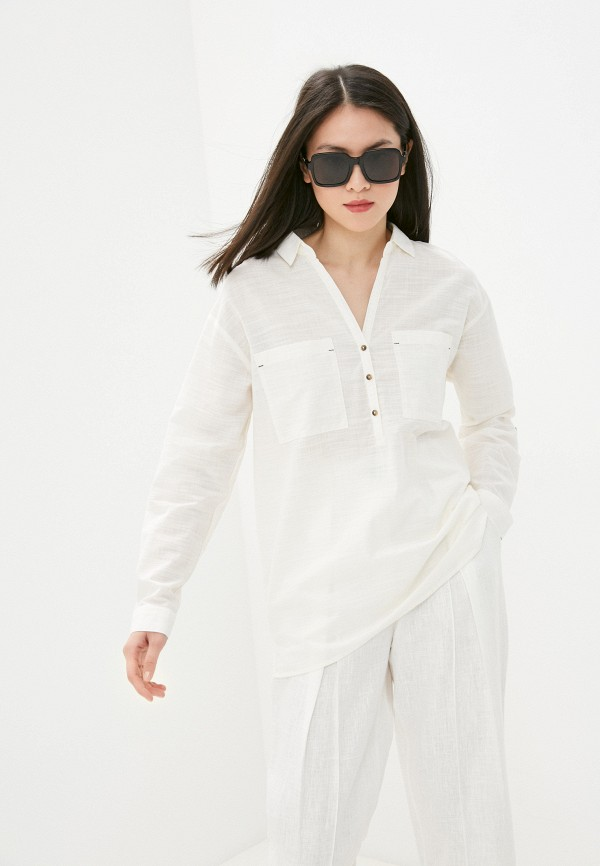 женская рубашка с длинным рукавом colin's, белая