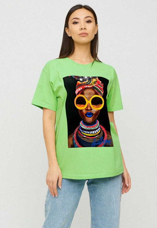 женская футболка yappi, зеленая