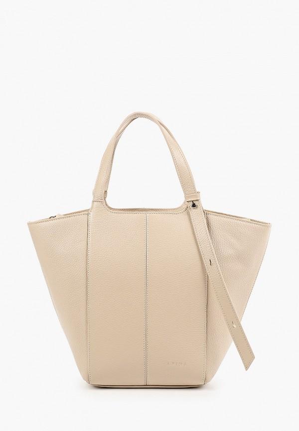 женская сумка с ручками afina, белая