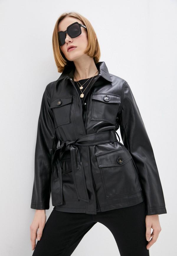женская кожаные куртка topshop, черная