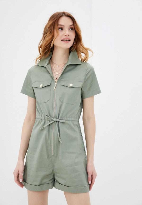 женский комбинезон с шортами love republic, зеленый
