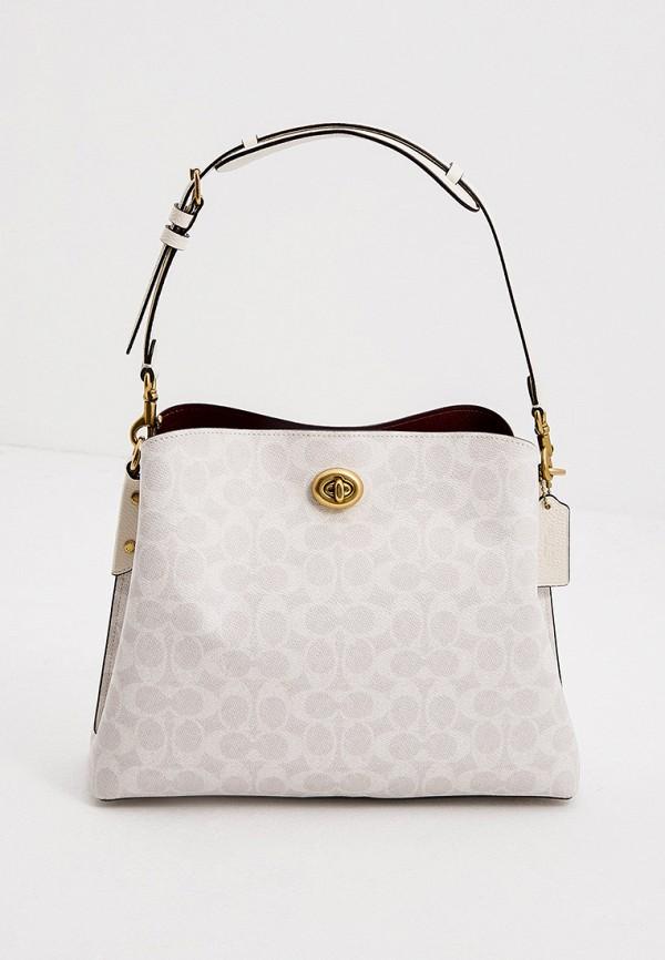женская сумка с ручками coach, белая