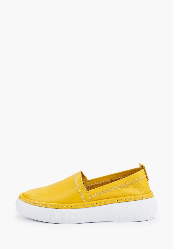 женские низкие слипоны valley, желтые