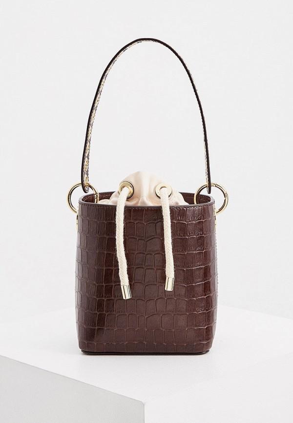 женская сумка-ведро sandro, коричневая