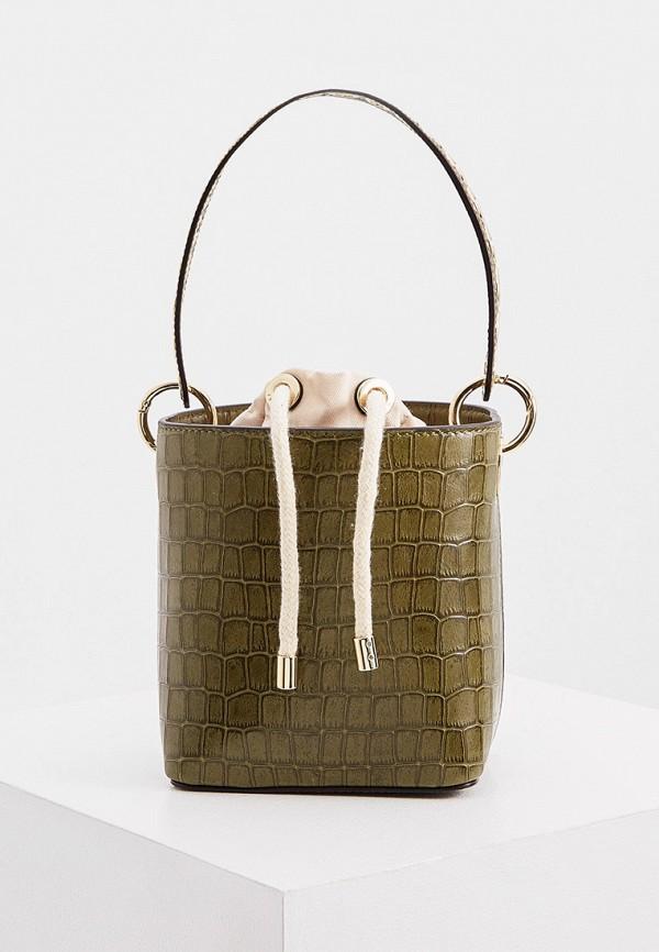 женская сумка-ведро sandro, хаки