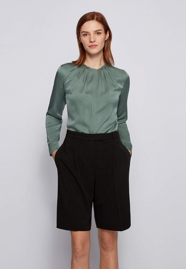 женская блузка с длинным рукавом boss, зеленая