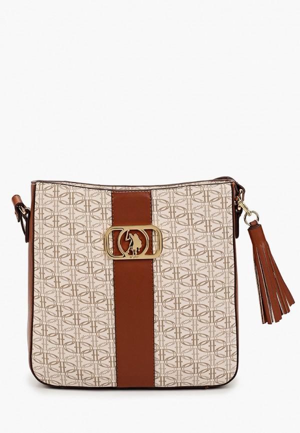 женская сумка через плечо u.s. polo assn, бежевая