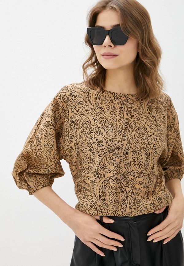 женская блузка с длинным рукавом baon, коричневая