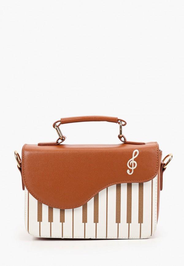 женская сумка с ручками артми, коричневая