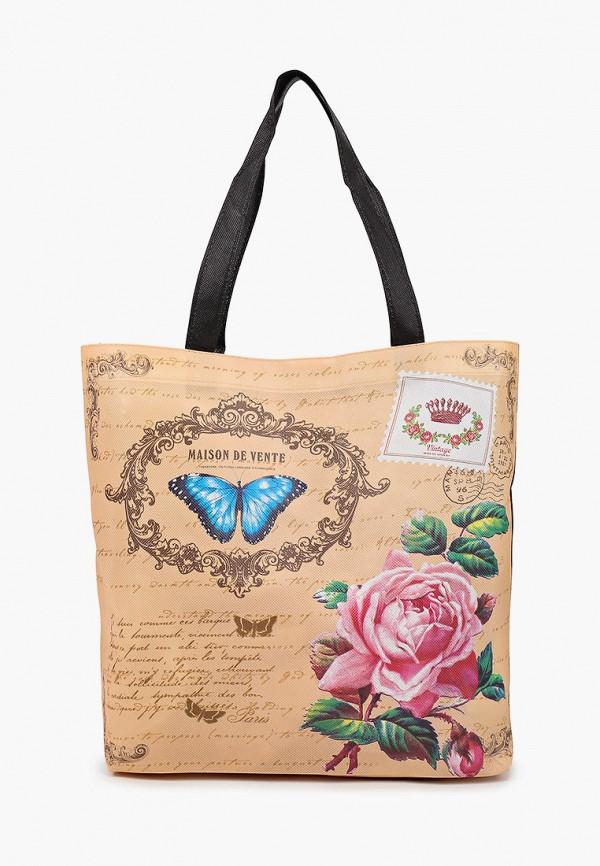 женская сумка-шоперы живой шелк, бежевая