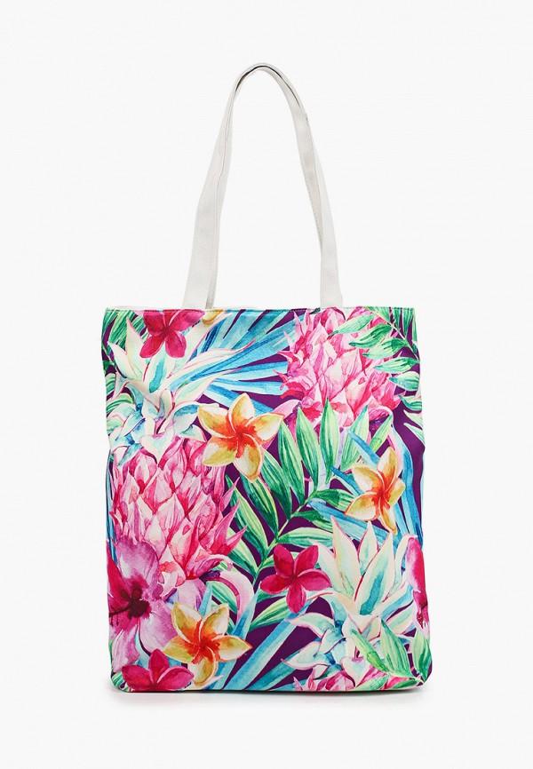 женская сумка-шоперы живой шелк, разноцветная