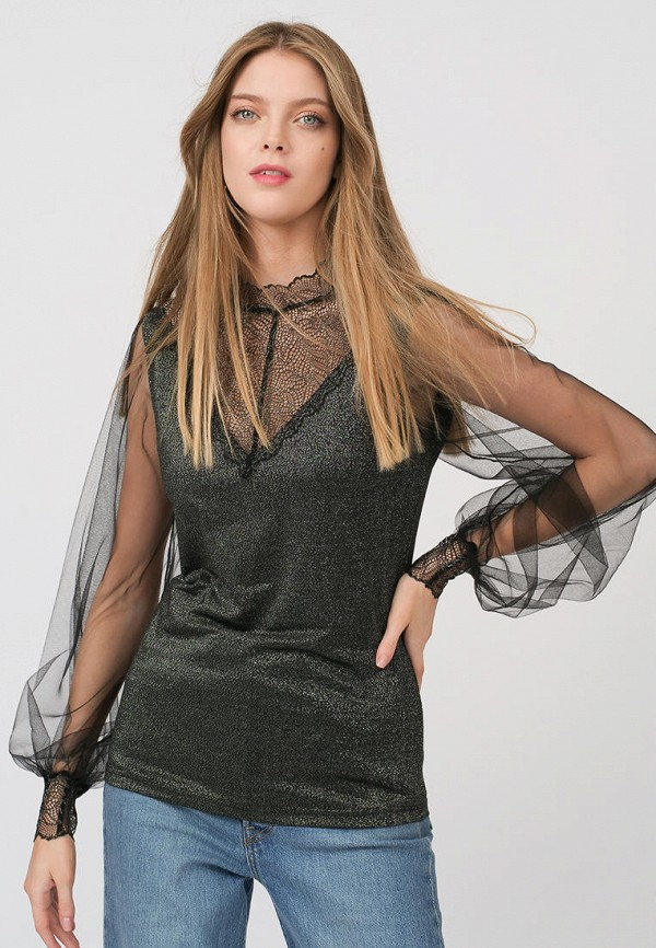 женская блузка с длинным рукавом lussotico, серебряная