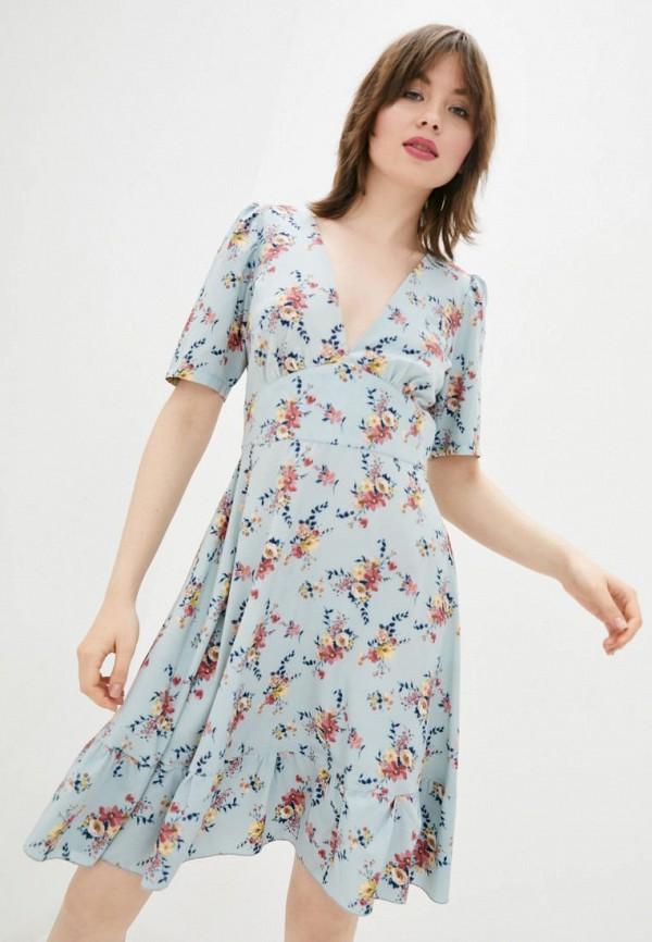 женское повседневные платье sfn, голубое
