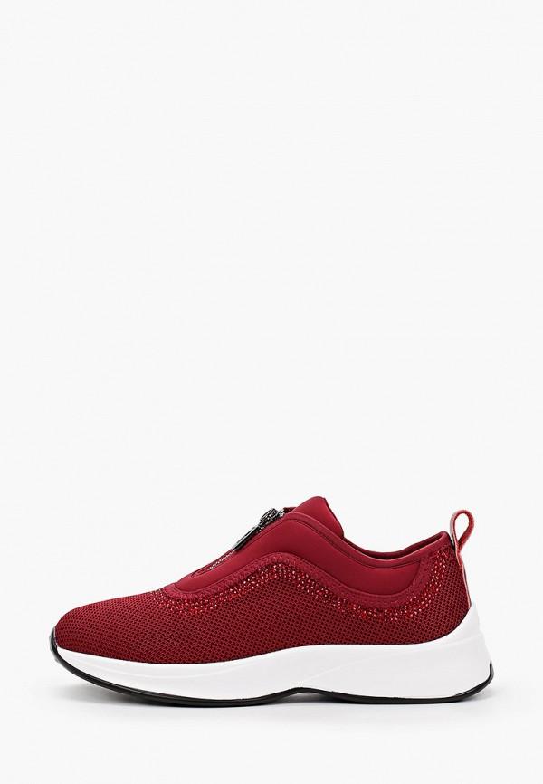 женские низкие кроссовки v.i.konty, бордовые