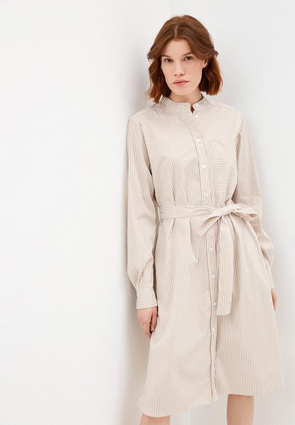 женское платье-рубашки boss, бежевое