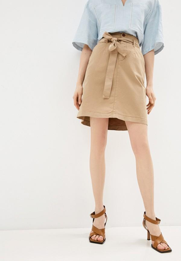женская прямые юбка boss, бежевая