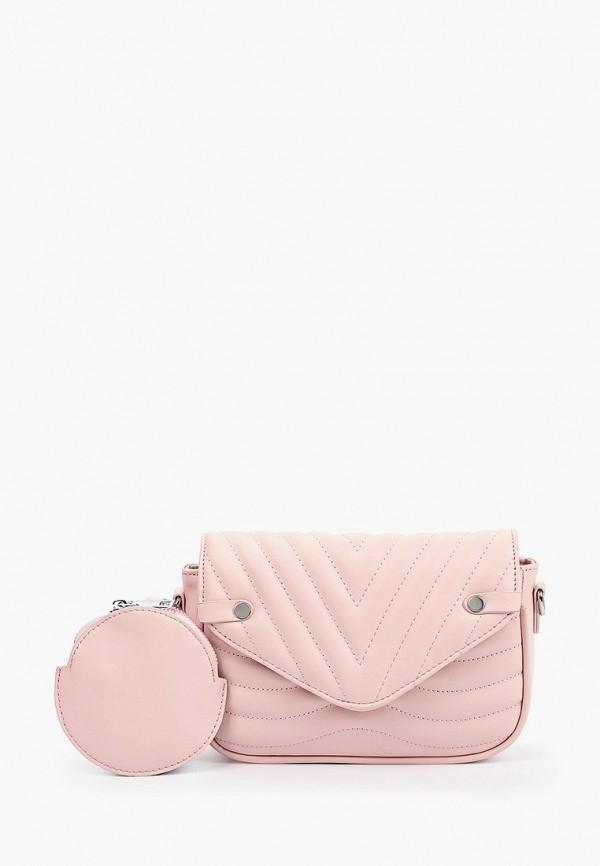 женский кошелёк через плечо francesco donni, розовый