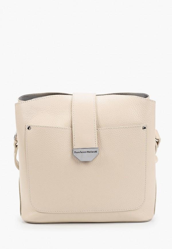 женская сумка через плечо franchesco mariscotti, бежевая