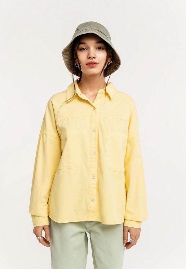 женская рубашка с длинным рукавом befree, желтая