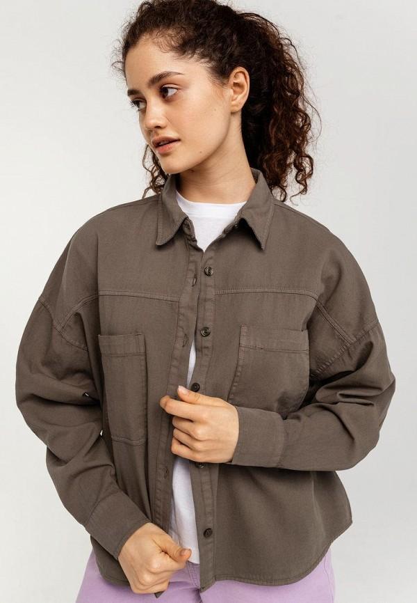 женская рубашка с длинным рукавом befree, хаки