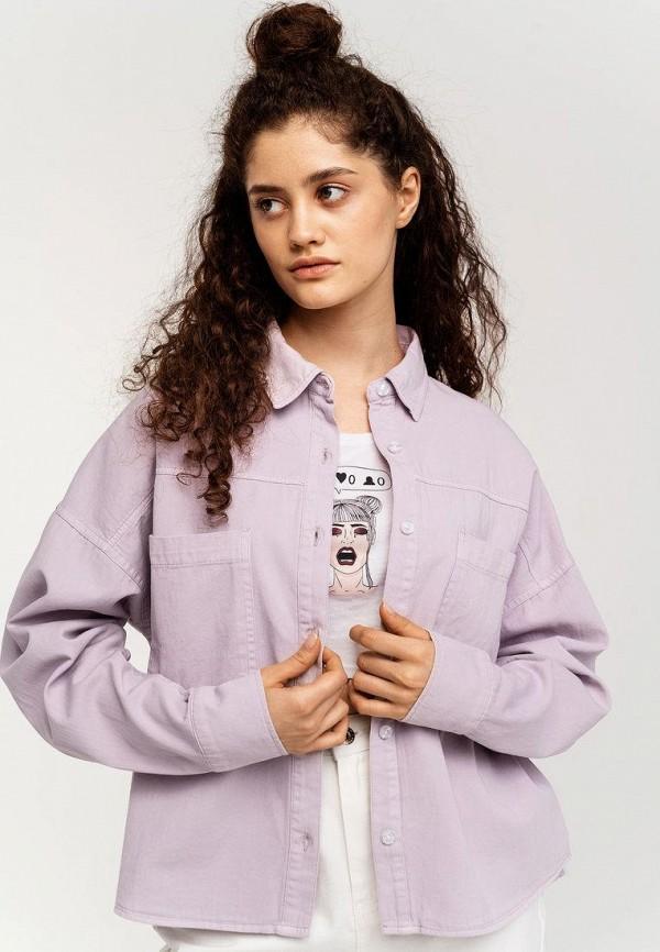 женская рубашка с длинным рукавом befree, фиолетовая