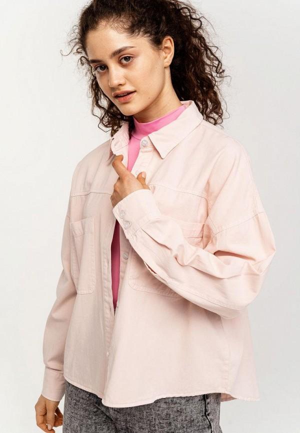 женская рубашка с длинным рукавом befree, розовая