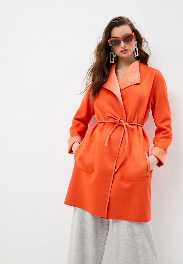 женское пальто falconeri, оранжевое