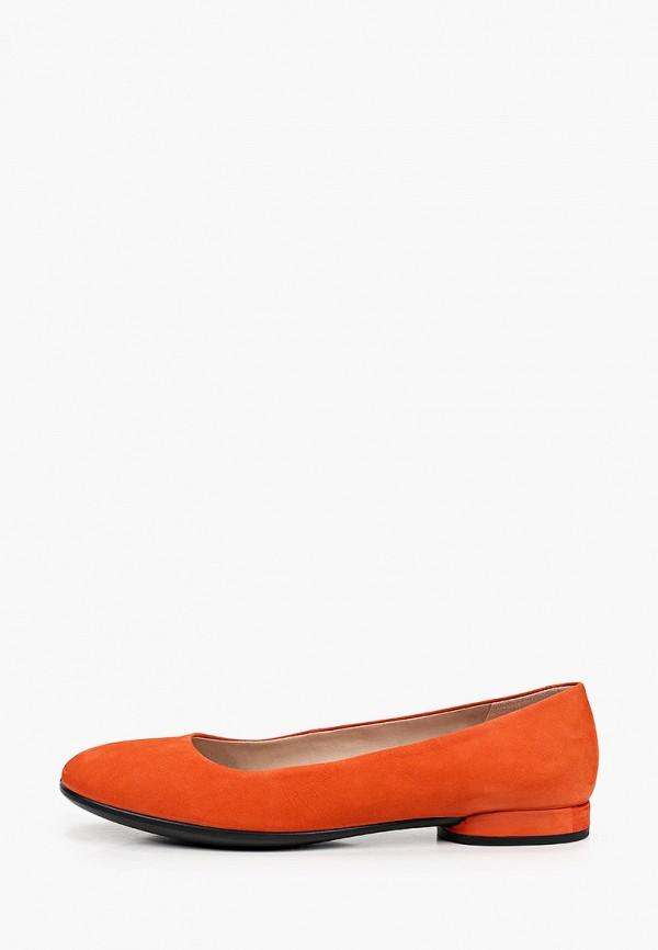 женские балетки ecco, оранжевые