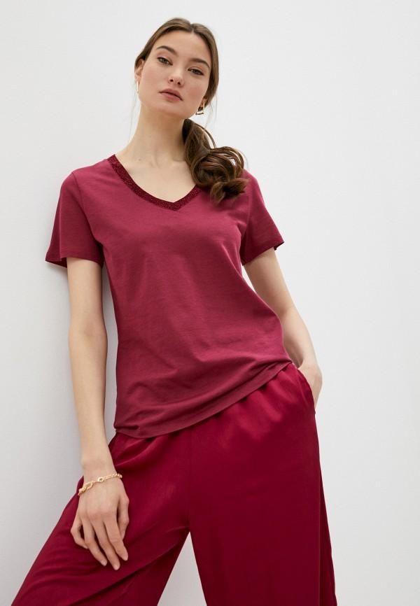 женская футболка falconeri, бордовая