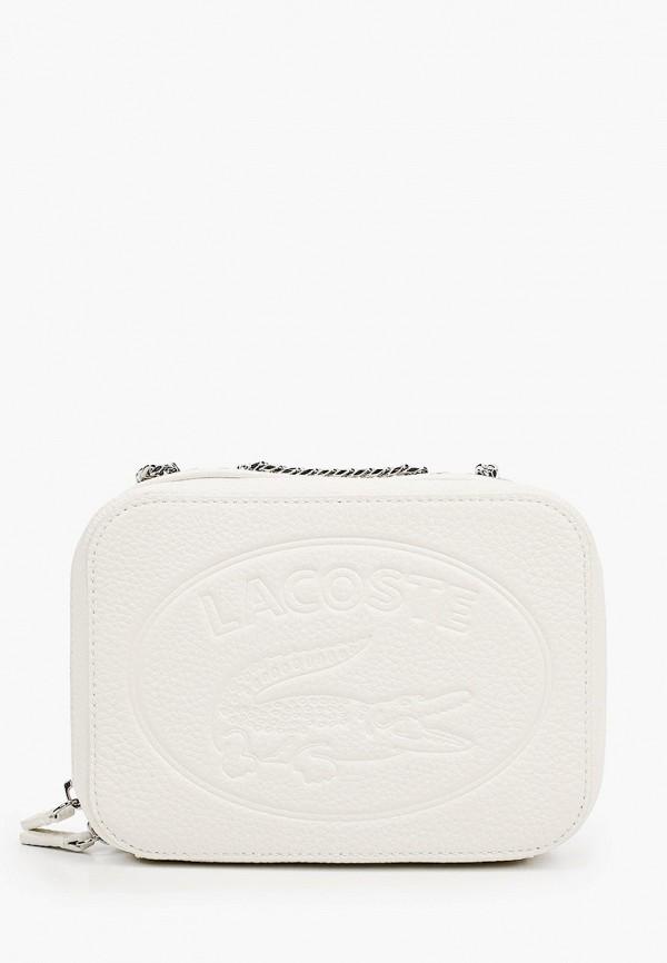 женская сумка через плечо lacoste, белая