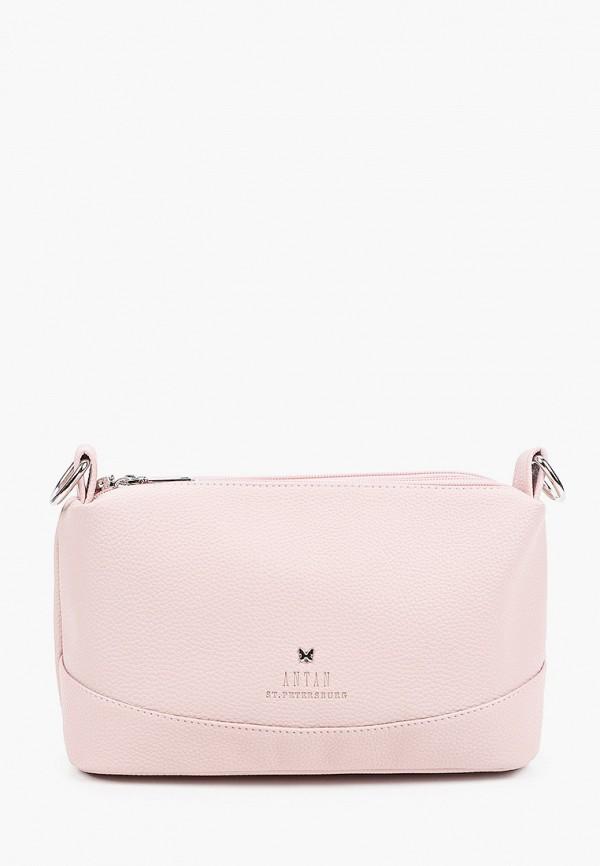 женская сумка через плечо antan, розовая