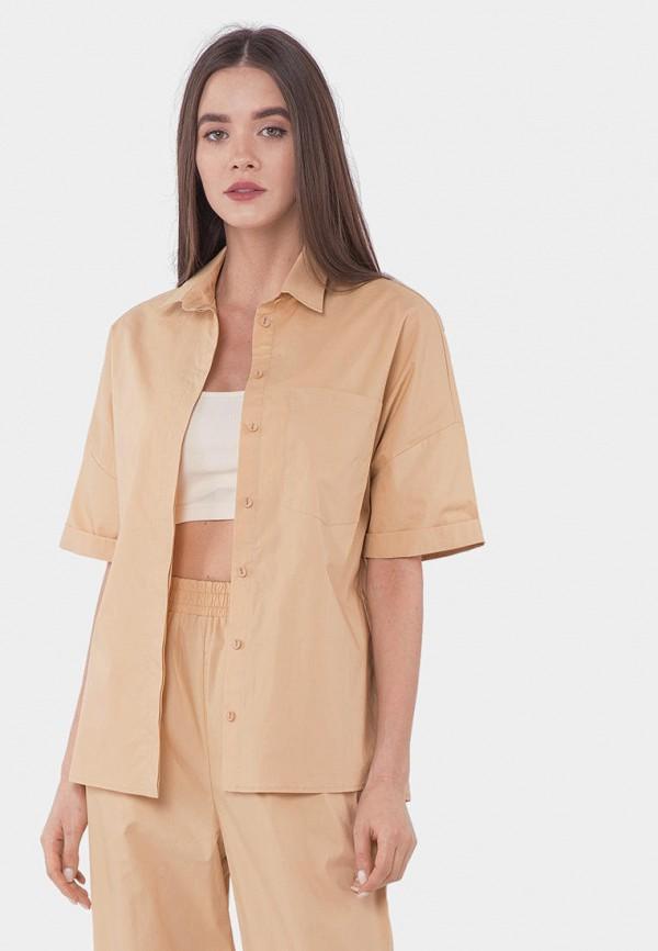 женская рубашка с коротким рукавом mr520, бежевая